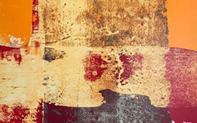 Residue Painting: Red & Orange